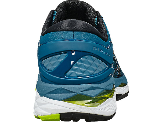 Back view of GEL-KAYANO 24, INK BLUE/BLACK/SAFETY YELLOW