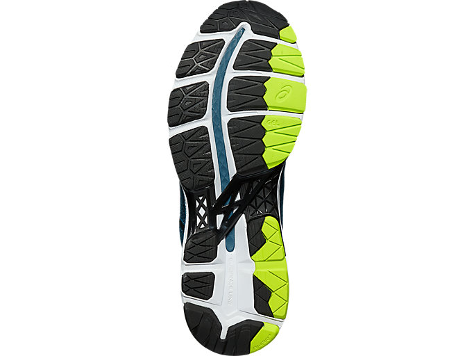 Bottom view of GEL-KAYANO 24, INK BLUE/BLACK/SAFETY YELLOW