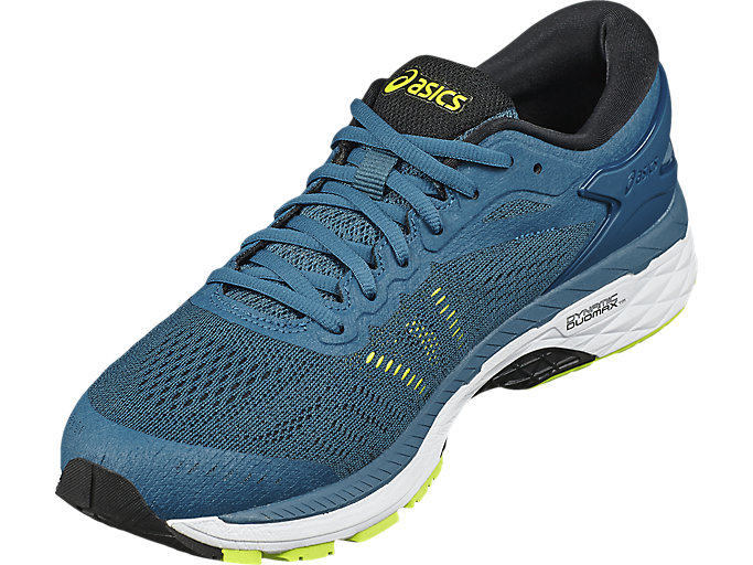 Front Left view of GEL-KAYANO 24, INK BLUE/BLACK/SAFETY YELLOW