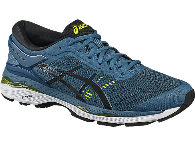 Front Right view of GEL-KAYANO 24, INK BLUE/BLACK/SAFETY YELLOW