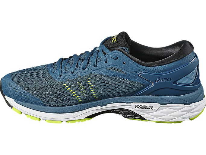 Left side view of GEL-KAYANO 24, INK BLUE/BLACK/SAFETY YELLOW