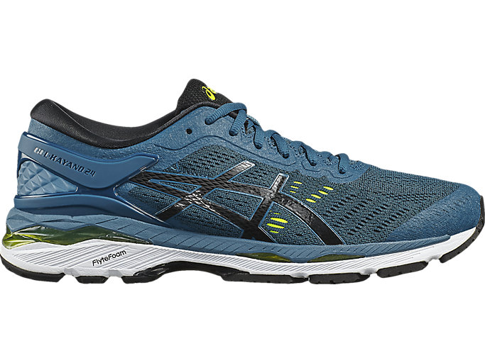 Right side view of GEL-KAYANO 24, INK BLUE/BLACK/SAFETY YELLOW