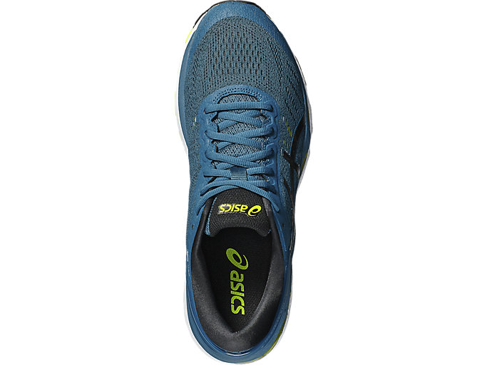 Top view of GEL-KAYANO 24, INK BLUE/BLACK/SAFETY YELLOW