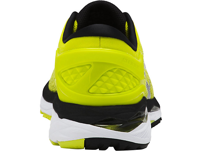 Back view of GEL-KAYANO 24, SULPHUR SPRING/BLACK/WHITE