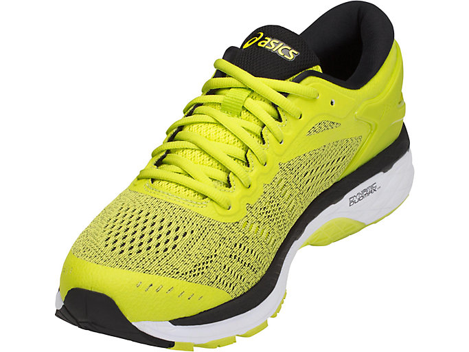 Front Left view of GEL-KAYANO 24, SULPHUR SPRING/BLACK/WHITE