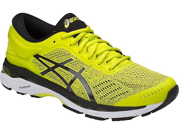 Front Right view of GEL-KAYANO 24, SULPHUR SPRING/BLACK/WHITE