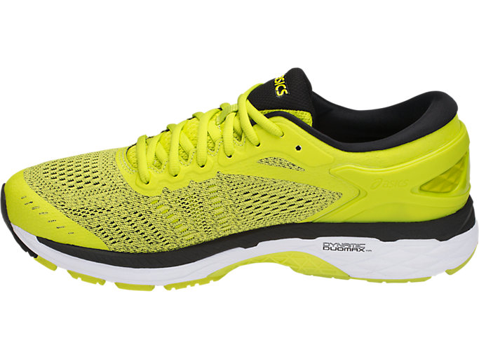 Left side view of GEL-KAYANO 24, SULPHUR SPRING/BLACK/WHITE