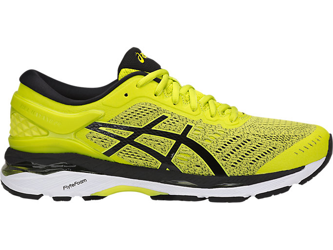 Right side view of GEL-KAYANO 24, SULPHUR SPRING/BLACK/WHITE