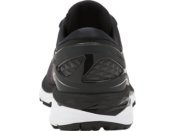 Back view of GEL-KAYANO 24, BLACK/PHANTOM/WHITE