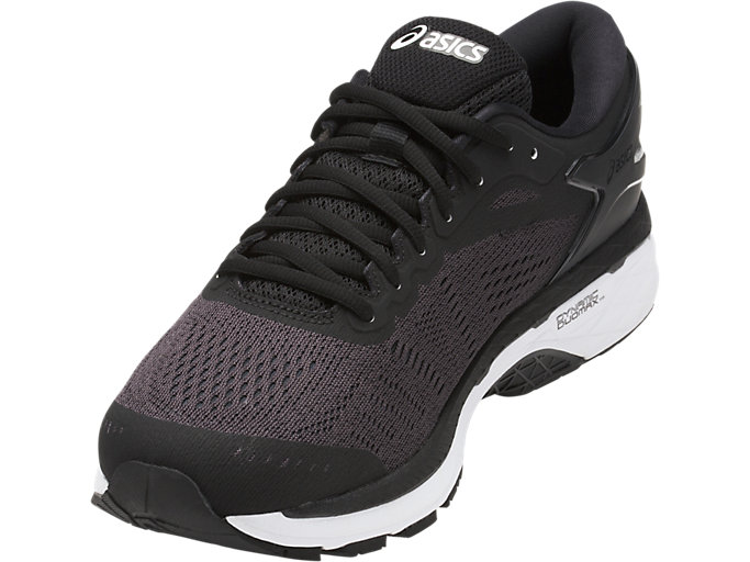 Front Left view of GEL-KAYANO 24, BLACK/PHANTOM/WHITE