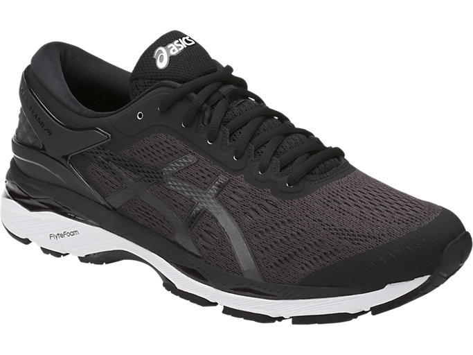 Front Right view of GEL-KAYANO 24, BLACK/PHANTOM/WHITE