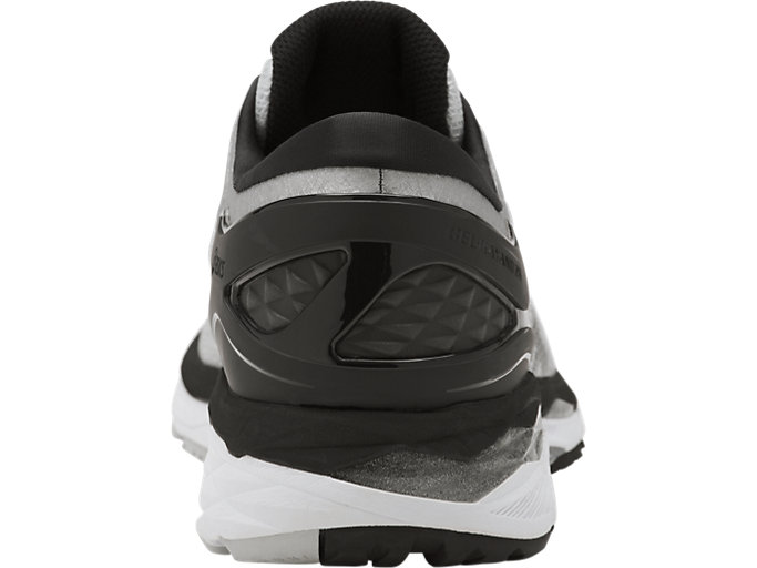 Back view of GEL-KAYANO 24, SILVER/BLACK/MID GREY