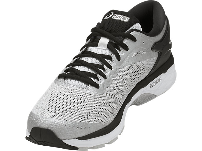 Front Left view of GEL-KAYANO 24, SILVER/BLACK/MID GREY