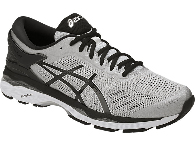 Front Right view of GEL-KAYANO 24, SILVER/BLACK/MID GREY