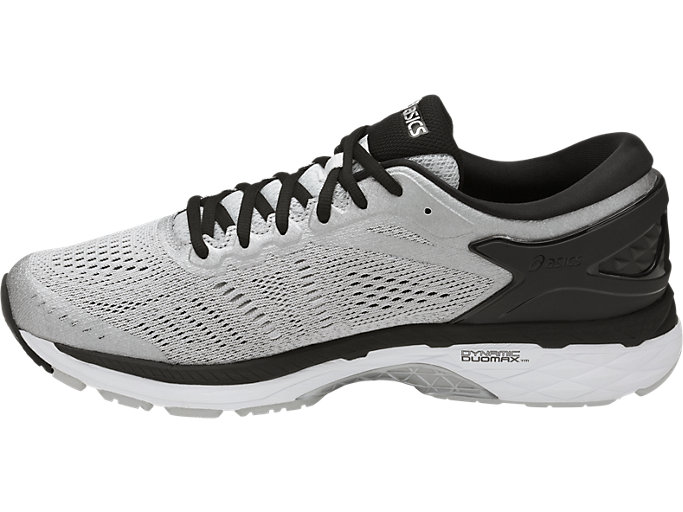 Left side view of GEL-KAYANO 24, SILVER/BLACK/MID GREY