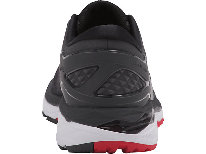 Back view of GEL-KAYANO 24, DARK GREY/BLACK/FIERY RED