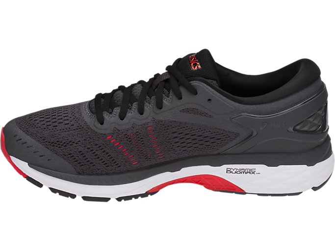 Left side view of GEL-KAYANO 24, DARK GREY/BLACK/FIERY RED