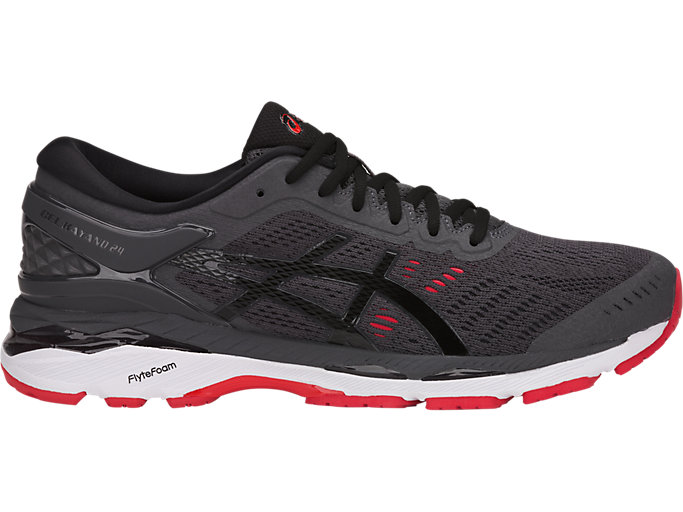 Right side view of GEL-KAYANO 24, DARK GREY/BLACK/FIERY RED
