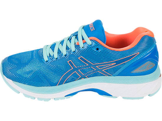 GEL-NIMBUS 19 pour femmes DIVA BLUE/FLASH CORAL/AQUA SPLASH 7 LT