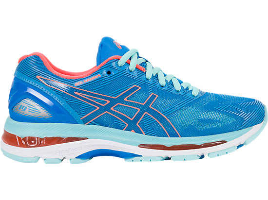 GEL-NIMBUS 19 pour femmes DIVA BLUE/FLASH CORAL/AQUA SPLASH 3 RT