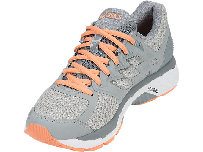 Front Left view of GT-3000 5, MID GREY/STONE GREY/CANTELOUPE