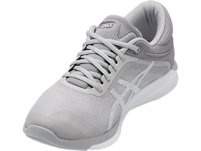 Front Left view of Zapatilla de running FUZEX RUSH para mujer, WHITE/SILVER/MID GREY