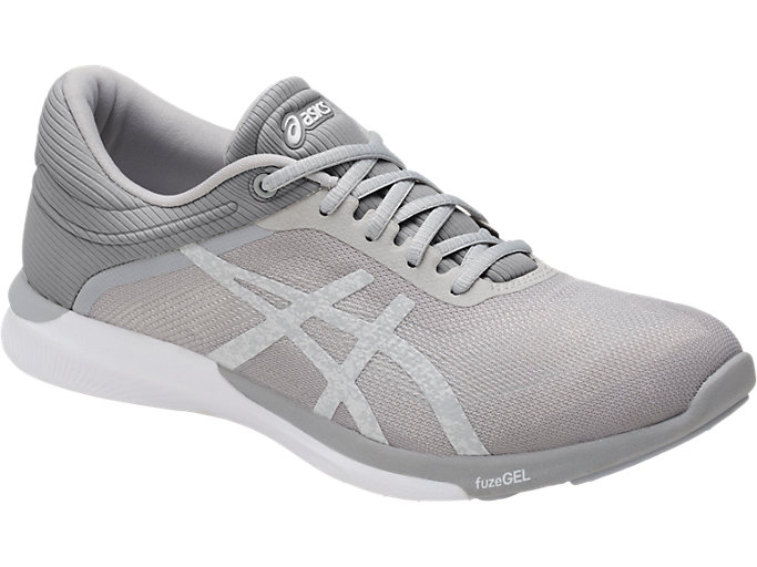 Front Right view of Zapatilla de running FUZEX RUSH para mujer, WHITE/SILVER/MID GREY