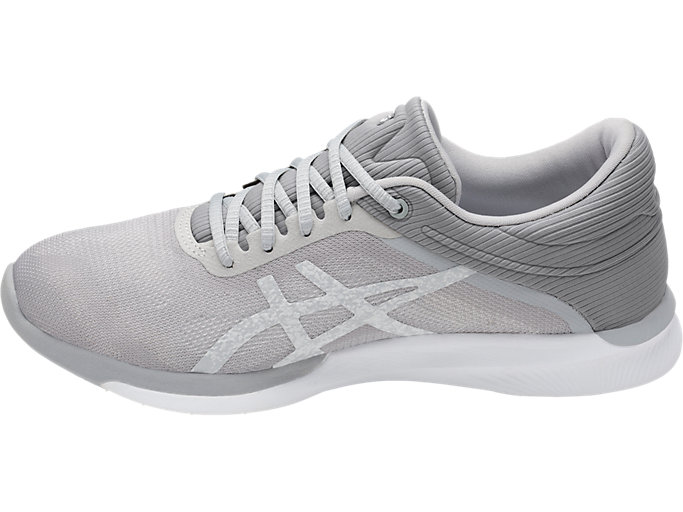 Left side view of Zapatilla de running FUZEX RUSH para mujer, WHITE/SILVER/MID GREY