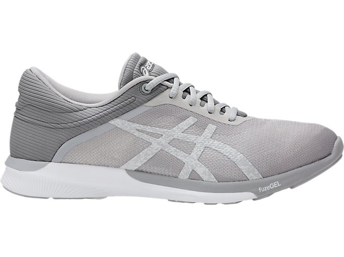 Right side view of Zapatilla de running FUZEX RUSH para mujer, WHITE/SILVER/MID GREY