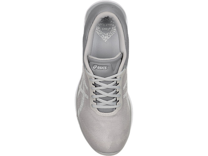 Top view of Zapatilla de running FUZEX RUSH para mujer, WHITE/SILVER/MID GREY