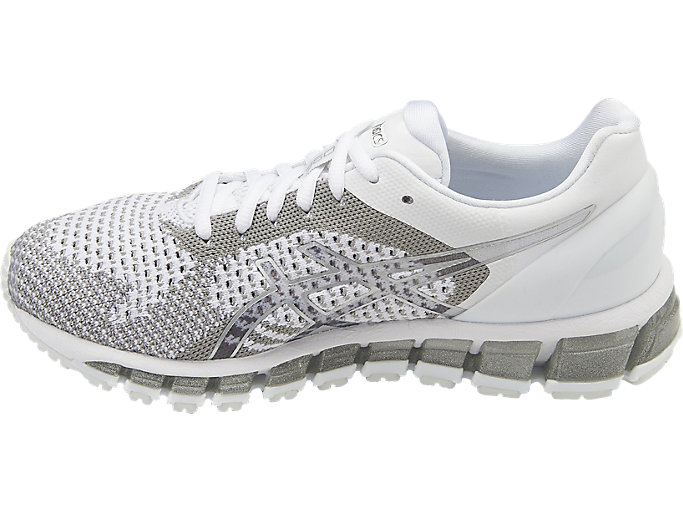 Left side view of GEL-QUANTUM 360 KNIT Laufschuh für Damen, WHITE/SNOW/SILVER