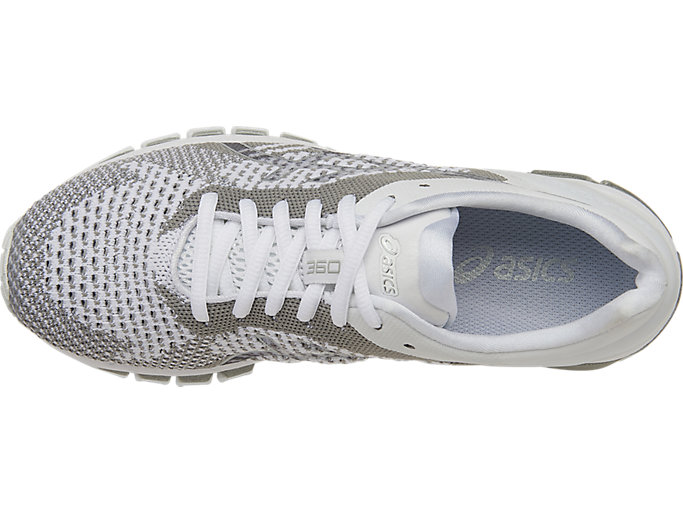 Top view of GEL-QUANTUM 360 KNIT Laufschuh für Damen, WHITE/SNOW/SILVER