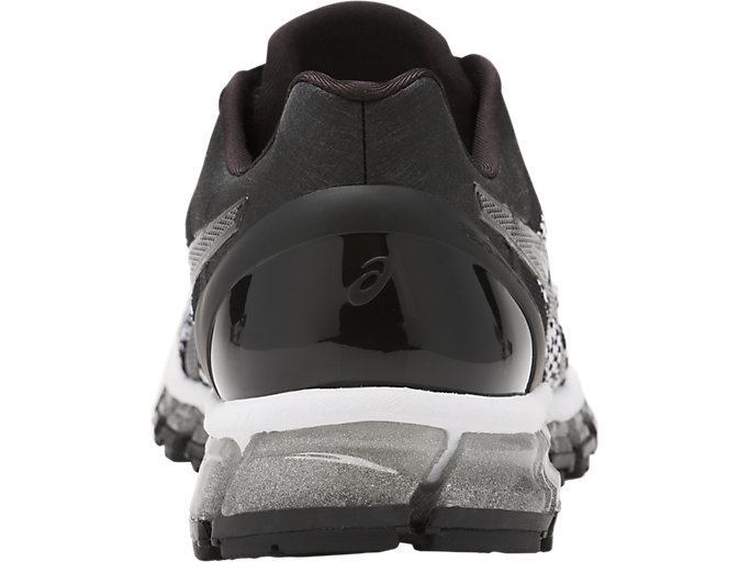Back view of Zapatilla de running GEL-QUANTUM 360 KNIT para mujer, BLACK/WHITE/SILVER