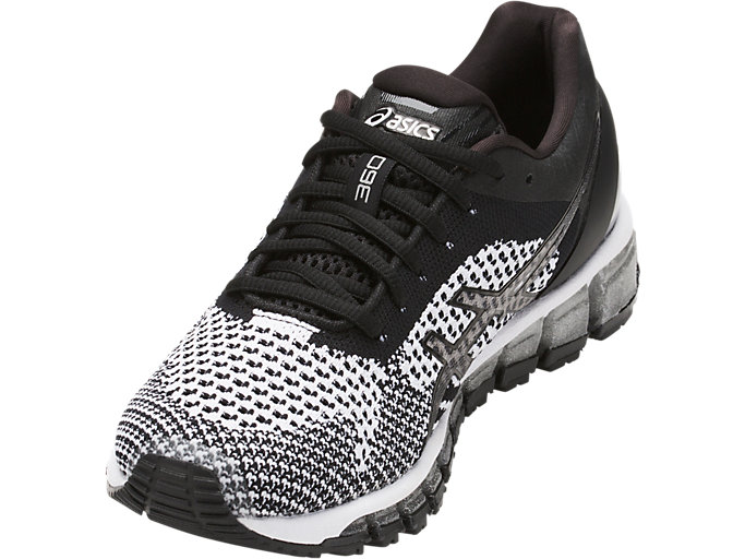 Front Left view of Zapatilla de running GEL-QUANTUM 360 KNIT para mujer, BLACK/WHITE/SILVER