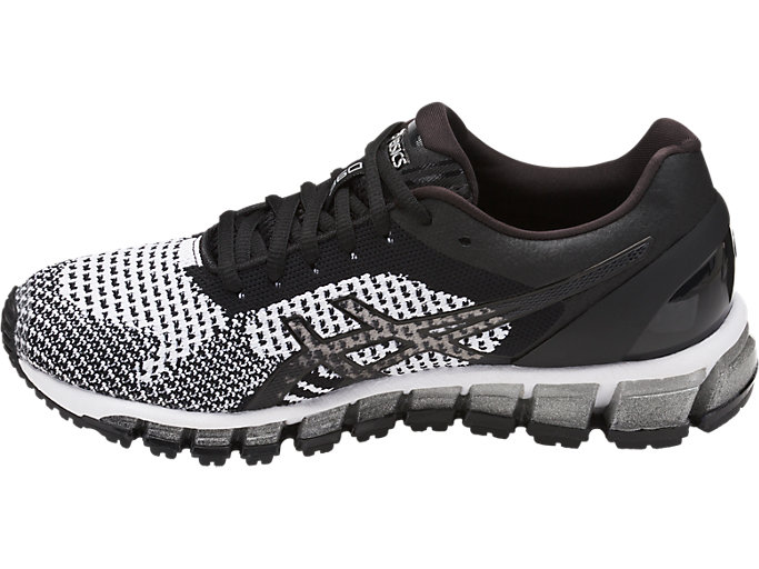 Left side view of Zapatilla de running GEL-QUANTUM 360 KNIT para mujer, BLACK/WHITE/SILVER