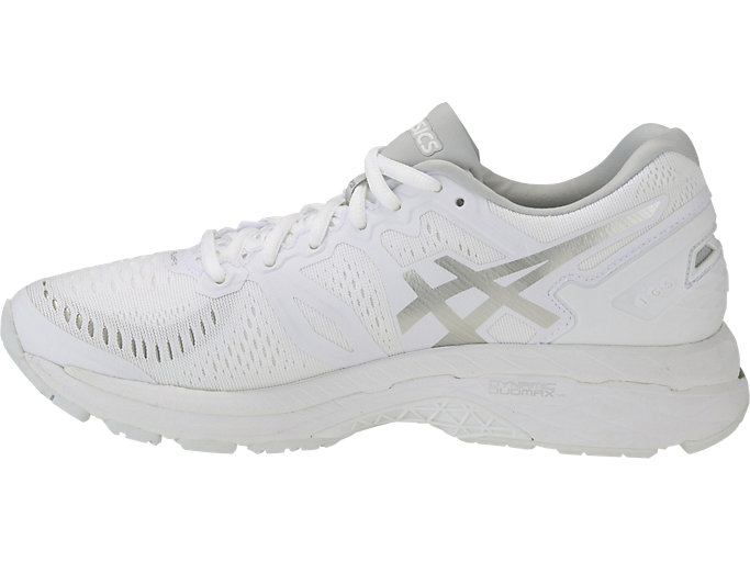 Left side view of GEL-KAYANO 23, White/Snow/Silver
