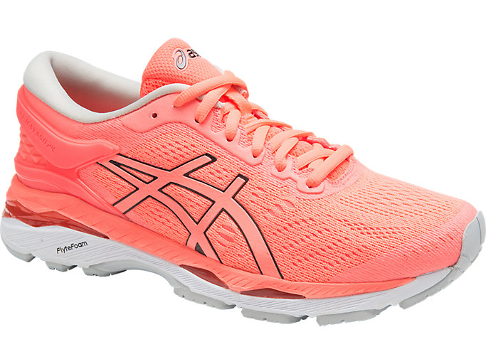 Front Right view of GEL-KAYANO 24, FLASH CORAL/BLACK/WHITE