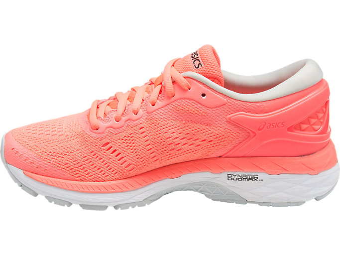 Left side view of GEL-KAYANO 24, FLASH CORAL/BLACK/WHITE