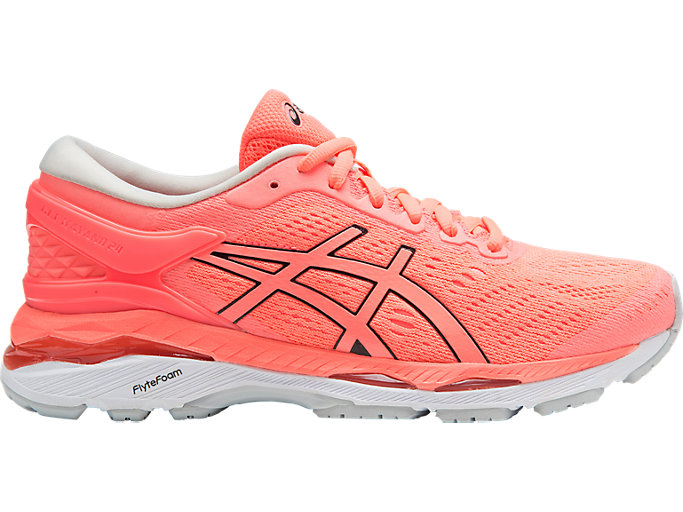 Right side view of GEL-KAYANO 24, FLASH CORAL/BLACK/WHITE