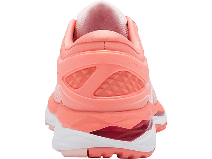 Back view of GEL-KAYANO 24, SEASHELL PINK/WHITE/BEGONIA PINK