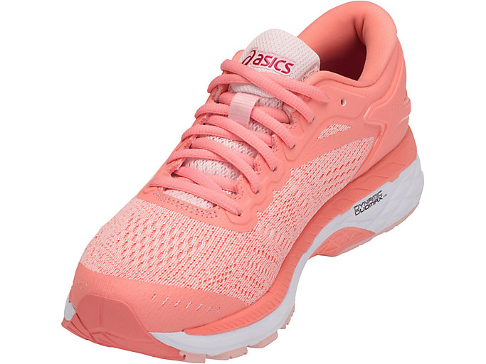 Front Left view of GEL-KAYANO 24, SEASHELL PINK/WHITE/BEGONIA PINK