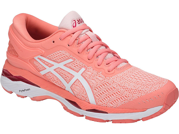 Front Right view of GEL-KAYANO 24, SEASHELL PINK/WHITE/BEGONIA PINK