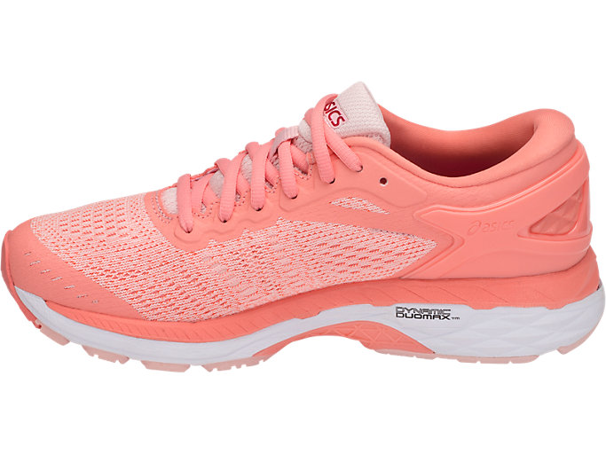 Left side view of GEL-KAYANO 24, SEASHELL PINK/WHITE/BEGONIA PINK