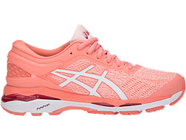 Right side view of GEL-KAYANO 24, SEASHELL PINK/WHITE/BEGONIA PINK