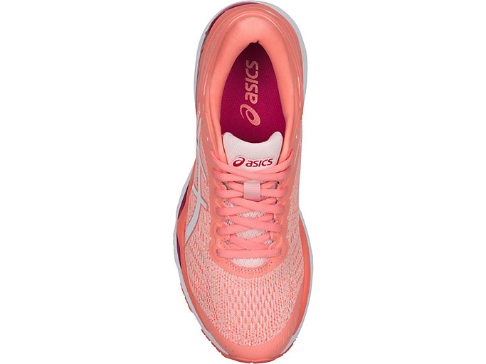 Top view of GEL-KAYANO 24, SEASHELL PINK/WHITE/BEGONIA PINK