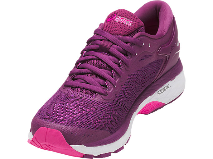Front Left view of GEL-KAYANO 24, PRUNE/PINK GLOW/WHITE