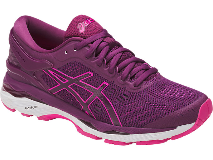 Front Right view of GEL-KAYANO 24, PRUNE/PINK GLOW/WHITE