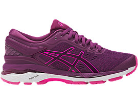 Right side view of GEL-KAYANO 24, PRUNE/PINK GLOW/WHITE