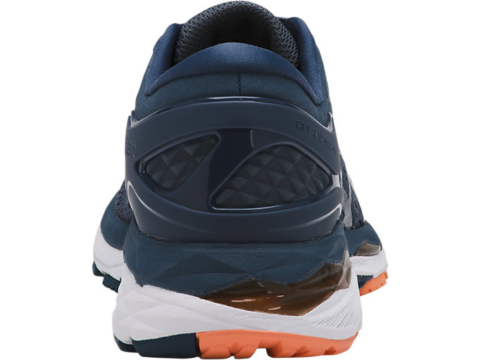 Back view of GEL-KAYANO 24, SMOKE BLUE/DARK BLUE/CANTELOUPE