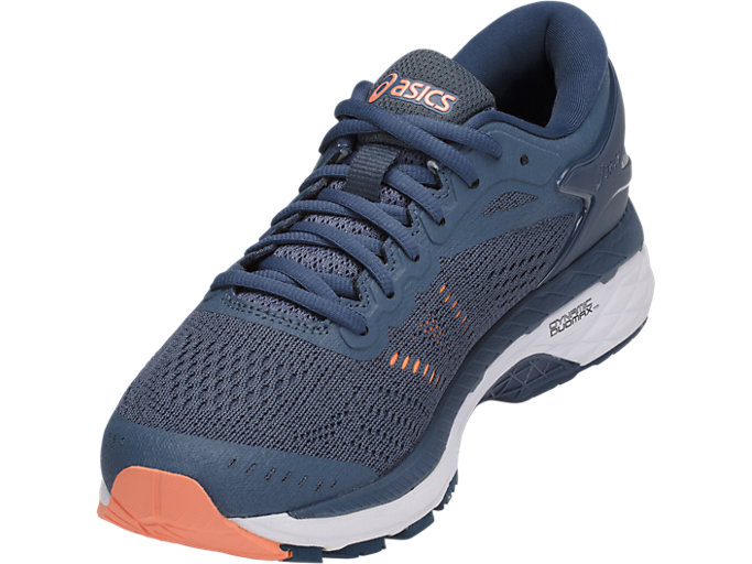 Front Left view of GEL-KAYANO 24, SMOKE BLUE/DARK BLUE/CANTELOUPE